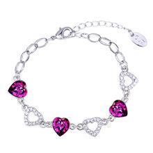 Women hand bracelets made with swarovski elements 30205 rosa corazon pulsera