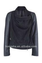 oem manufacture PU leather panelled black winter women coat / jacket long sleeves HSJ-017