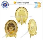 High quality custom design Oval shape gold plating souvenir plate