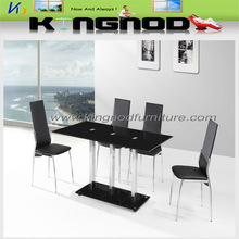 black and red painted tempered top glass ,tempered black bottom glass and stainless steel tube legs dining table