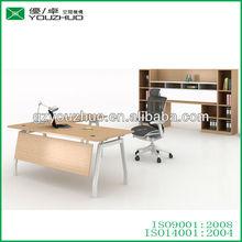 Tarrow-09 L shape metal desk with wood table top