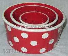 Hand Painted Polka Dot Round Red Ceramic Pet Dog Bowl Set