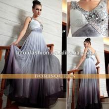 Nouveau mode de vente chaude dorisqueen 2013 attractifcapacity850mah v- col en mousseline de soie brodé de perles robe de cérémonie robe de soirée à guangzhou 30868