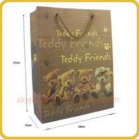 Hot sale vivid bear printing cheap gift bag kraft paper for children