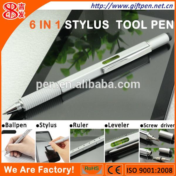 ผลิตภัณฑ์สิทธิบัตร- 6ใน1ปากกาเครื่องมือที่มีมินิสกรูไดรเวอร์/ปากกาสไตลั/ไม้บรรทัด/ระดับ