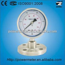 100mm bottom type Diaphragm low pressure gauge with flange