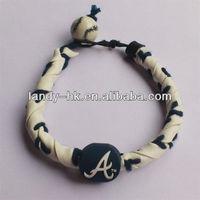 Frozen Rope Bracelet braves Handmade Baseball Leather Seam Braided