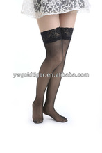 Summer Promotion Fashion Sexy Thin Soft Sheer Fishnet Thigh High Nylon Wide Silicon Lace Top Formal Workplace Woman Socks