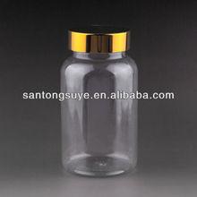 The Latest 140ML Transparent PET Plastic Pill Bottles/Luxury pharmaceutical ,gold iron screw cap