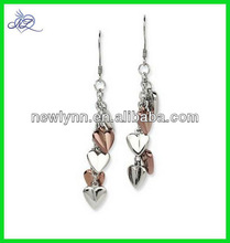 Stainless Steel Rose Gold Plating & Polished Hearts Dangle Earrings wholesale alibaba trending hot products