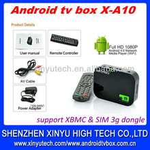 Google tv box android 4.0 remote control skype with 8 hrs aging testing and 100% QC test