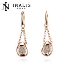 Handmade gold plated gold earrings 2012 new design on shopping online websites LKN18KRGPE042