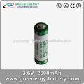 3.6v primären kleine lithium akku mit hoher kapazität batterien aa 2600 mah elektronische er14505