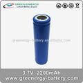 Aa de la batería recargable 3.7v 2.2ah 18650 recargable de la batería