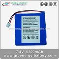 universales ion ithium 18650 paquetes de baterías recargables para luz de emergencia 5200mah 7.4v 2s2p