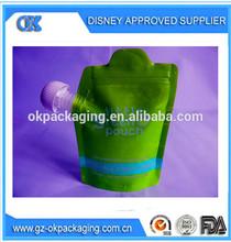 dual zip closure Spout Pouch/dual-zip closure food spout pouch/top-spout placement ziplock plastic packaging bag