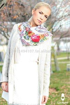 Russian shawl ANGELIKA white, russian pavlovskij scarf ANGELIKA, pawlower Schal