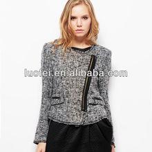 high quality wool blend tweed raw hem bias-zippered women spring jacket for office