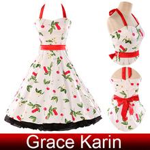 Grace Karin Stock Cotton Halter Ball Rockalilly Vintage Dresses 1950s Style Dresses CL4596