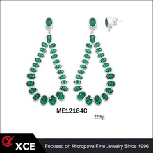 unique green cz big 925 thailand silver earring for sale