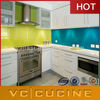 High gloss white metal kitchen cabinets