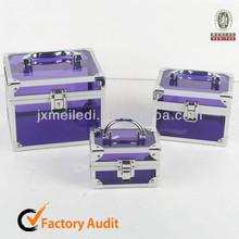 MLD-CC374 Purple Clear High-quality Fashional Aluminium Frame Acrylic Beauty Case For Jewelry Cosmetics