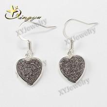 Silver druzy heart drop earrings in silver