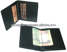 Leather mens wallets with money clip / fashionable mens wallets money clip / modern metal money clip wallets