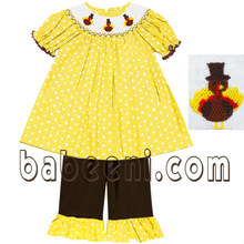 Girls thanksgiving hand smocked pant sets
