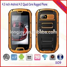 "LONGJOY IP68 4.3"" 3G Three-Anti Quad core Military Android Dual SIM WCDMA rugged phone S09 with Walkie Talkie"