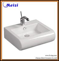 Counter top ceramic flat bathroom sink