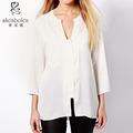 Nuevo estilo de camisas de las niñas escote abierto 3/4 manga buen precio de fábrica de alta calidad de gasa larga camisa de diseños