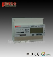 MID certificated Three-phase CT connected Din rail multifunction kWh Energy meter with modbus protocol