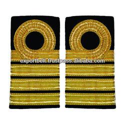 Deck Officer epaulettes 1,2,3,4 Bar Curl on Top | Royal Navy Captains Epaulettes Rank Badge