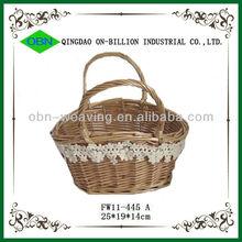Natural hand woven baby gift basket