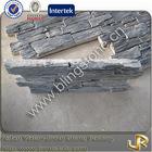 Stacked black slate decorative stone veneer