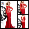 E0178 Long Sleeve Red Mermaid Evening Dress 2014
