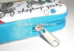 Metal pencil box with zipper tin zipper box