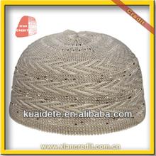 2014 Hotsale Knitted muslim men caps with flower patten CZH-008