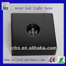 Square black wooden led night light base