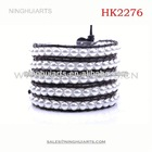 pearl and leather wrap with stainless steel chasp make your own logo China Manufacturer bracelet