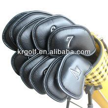 PU Leather Black Golf Iron Head Covers