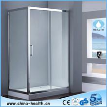 Reversible 3 sided sliding shower enclosure, free standing shower enclosure