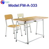 FM-A-333 Metal frame double student desk chair with wood surface