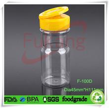 custom shape PET 100ml bath salt bottle with flip top,clear 3oz. salt and pepper bottle caps manufacturer
