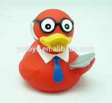 EN71 standard PVC bath computer duck toys/ plastic lectuter bath duck toys for kids