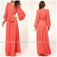 Long sleeve ladies chiffon maxi dress