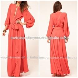 Long sleeve ladies chiffon maxi dress