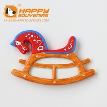 decorative rocking horse shaped 3D poly resin fridge magnet
