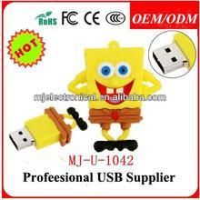 Sponge Memoria USB Cartoon Character ,Wholesale Cute Cartoon Usb Flash Drive 8gb